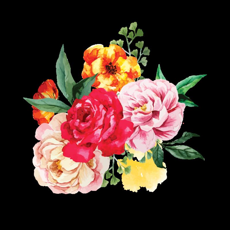 Временная Тату цветы акварель