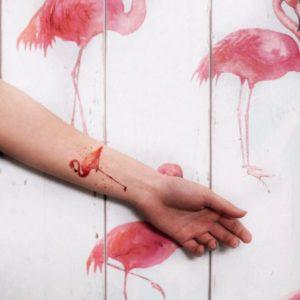 Переводная тату фламинго розовый