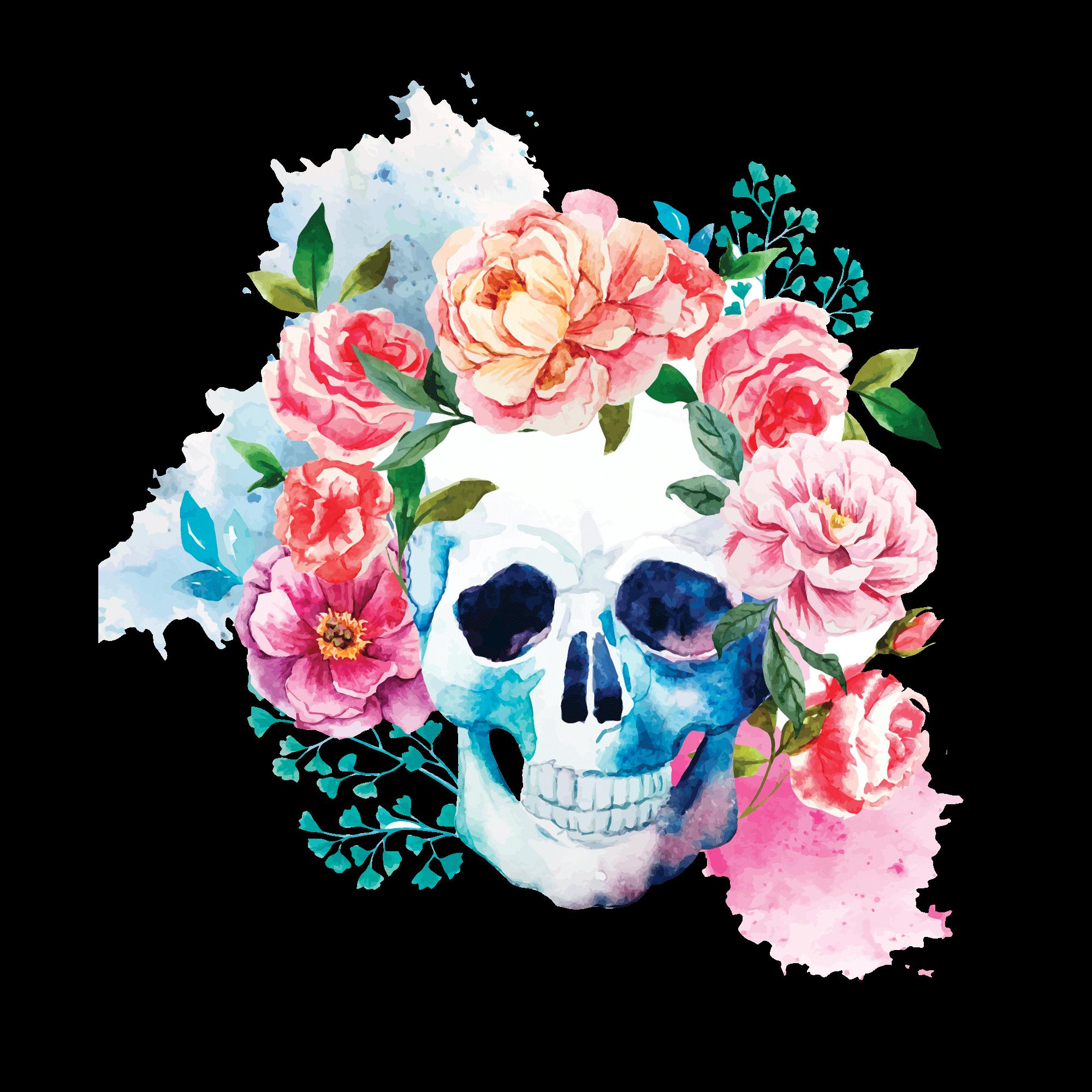 Временное тату череп в цветах