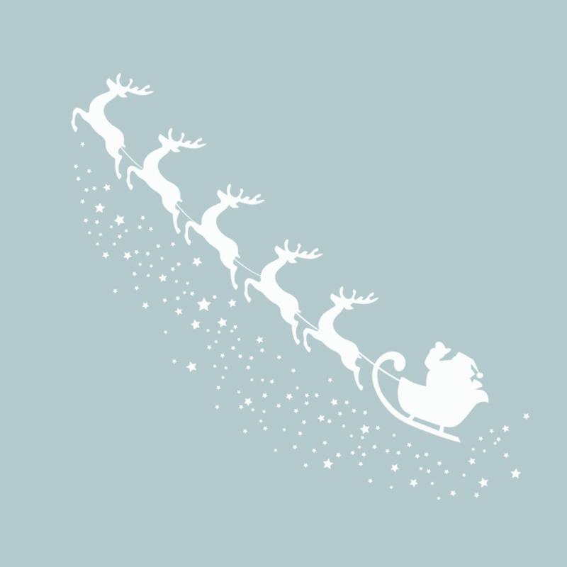 Временная тату Санта и олени белые