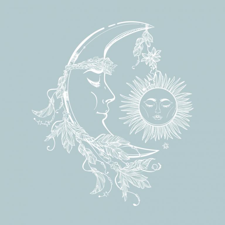 Переводная тату Месяц и солнце белое