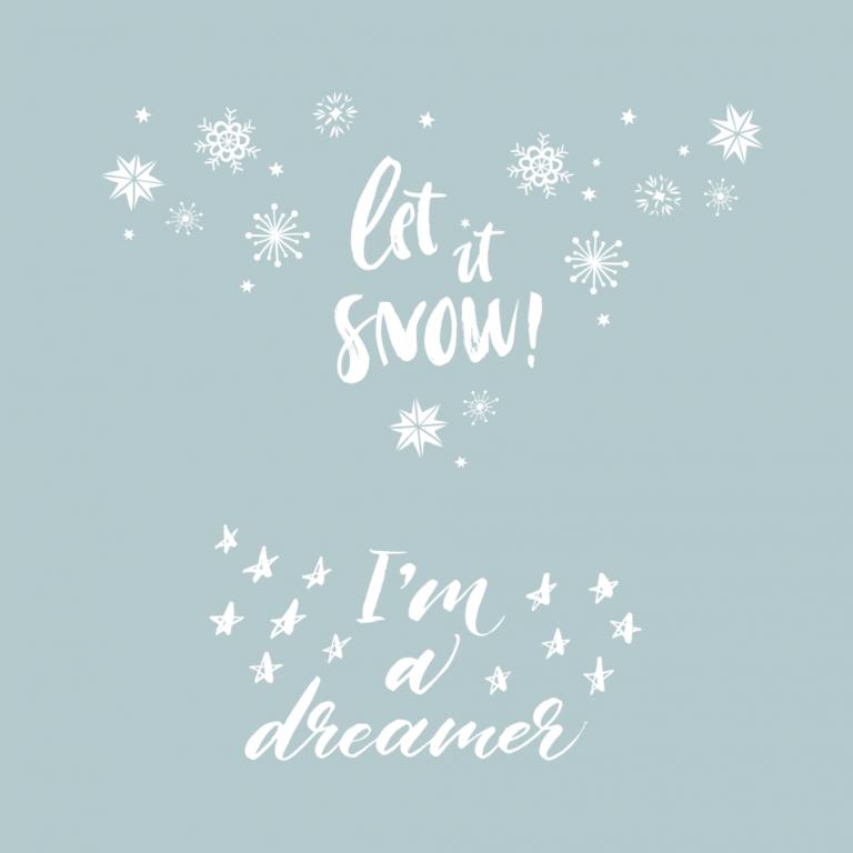 Временная татуировка белая Let it snow