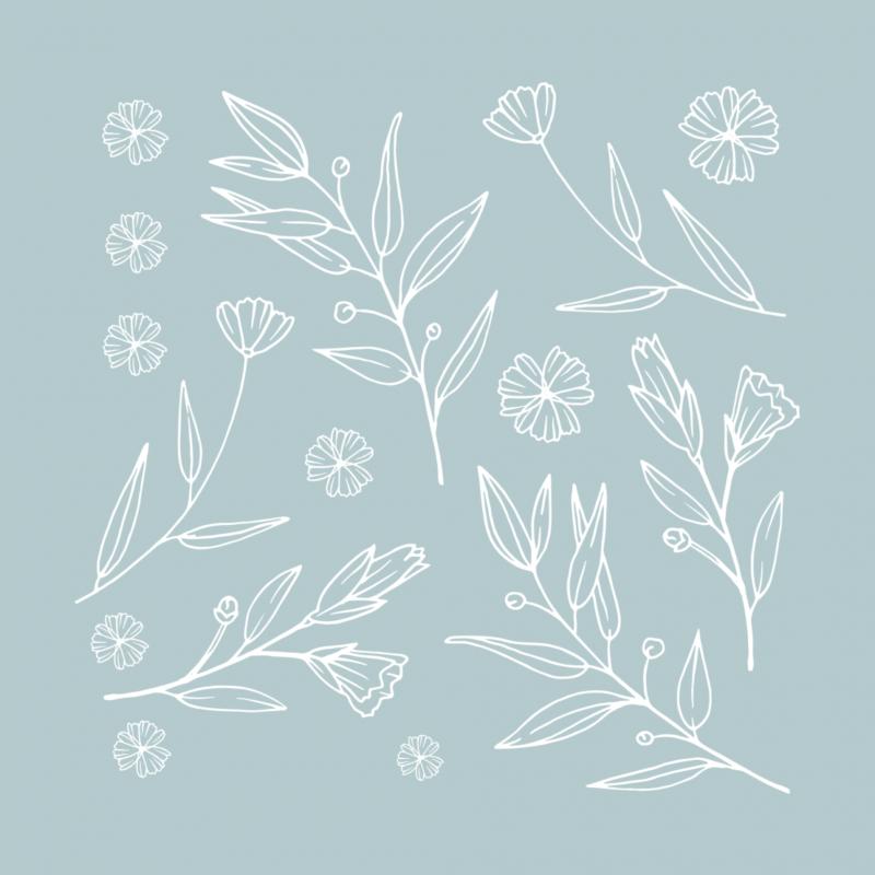 Временная тату набор белых цветов