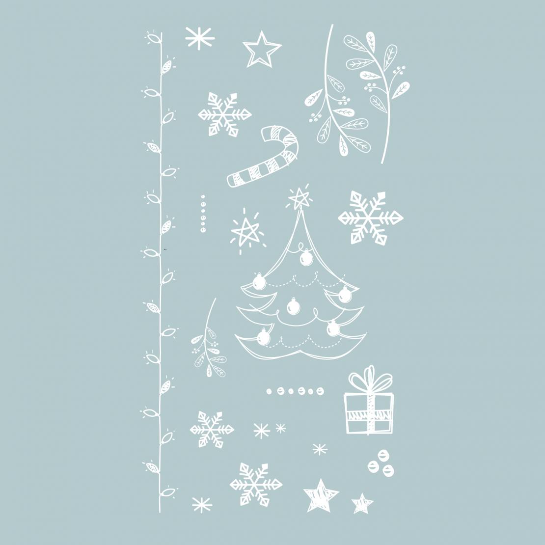 Тату наклейка набор новогодний белый