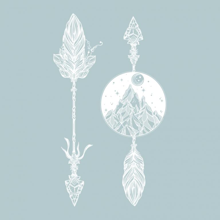 Временная тату стрелы и горы белые