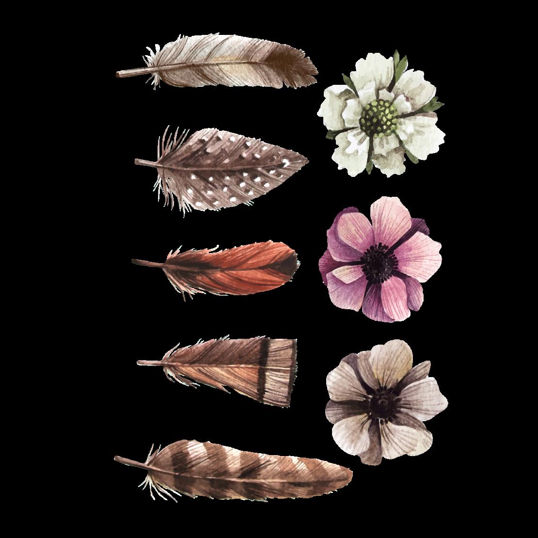 Временная татуировка Перья и цветы