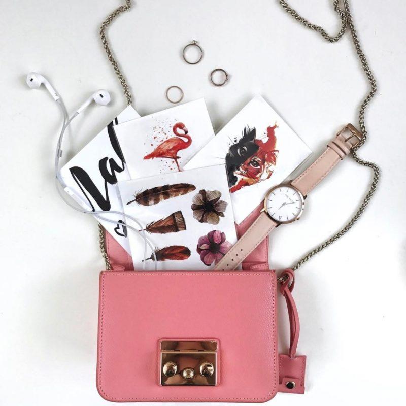 Переводные тату перья и цветы в сумочке