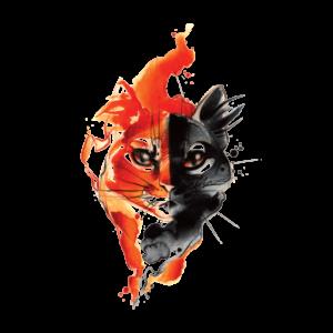 Временная тату огненная кошка