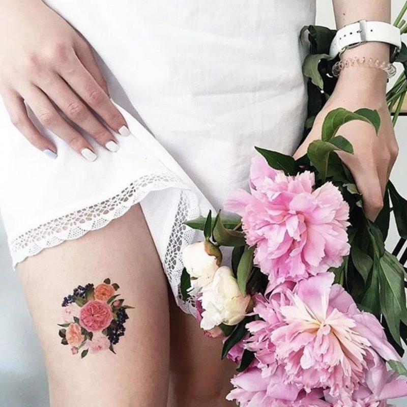 Временное тату букет цветов