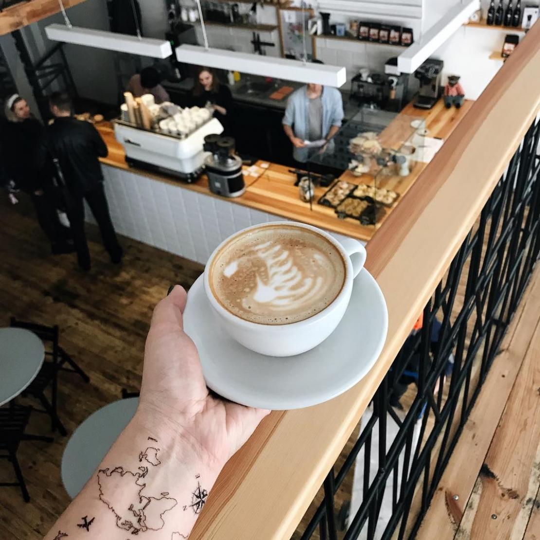 Переводная тату карта мира и кофе
