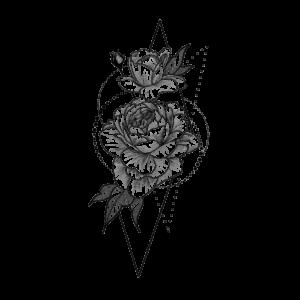 Временная тату роза в геометрии