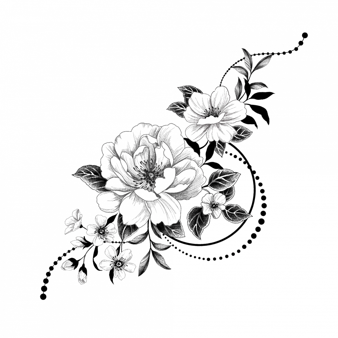 Temporary tattoo worldwide graphic flowers black and white graphic flowers mightylinksfo