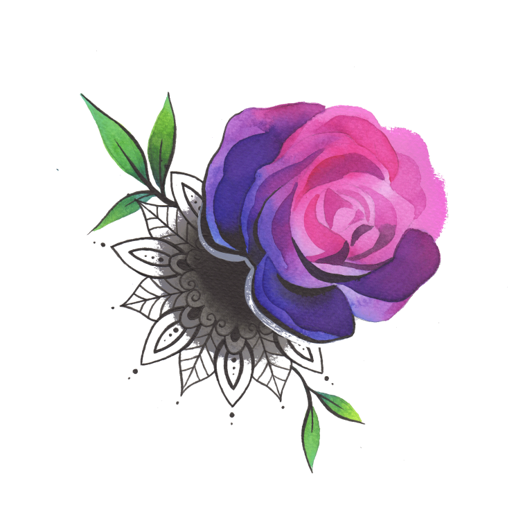Временная тату роза и мандала