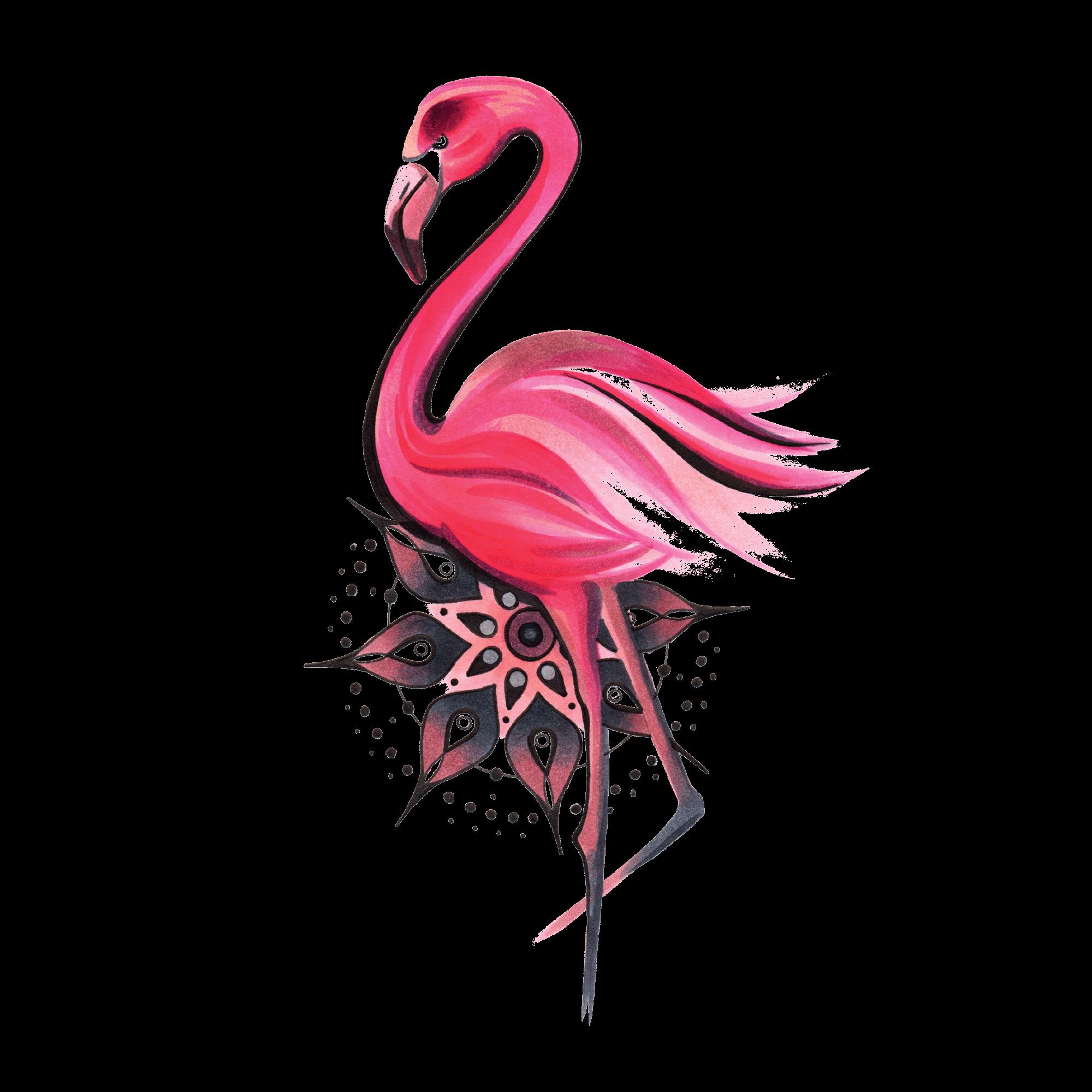Временная тату фламинго и мандала