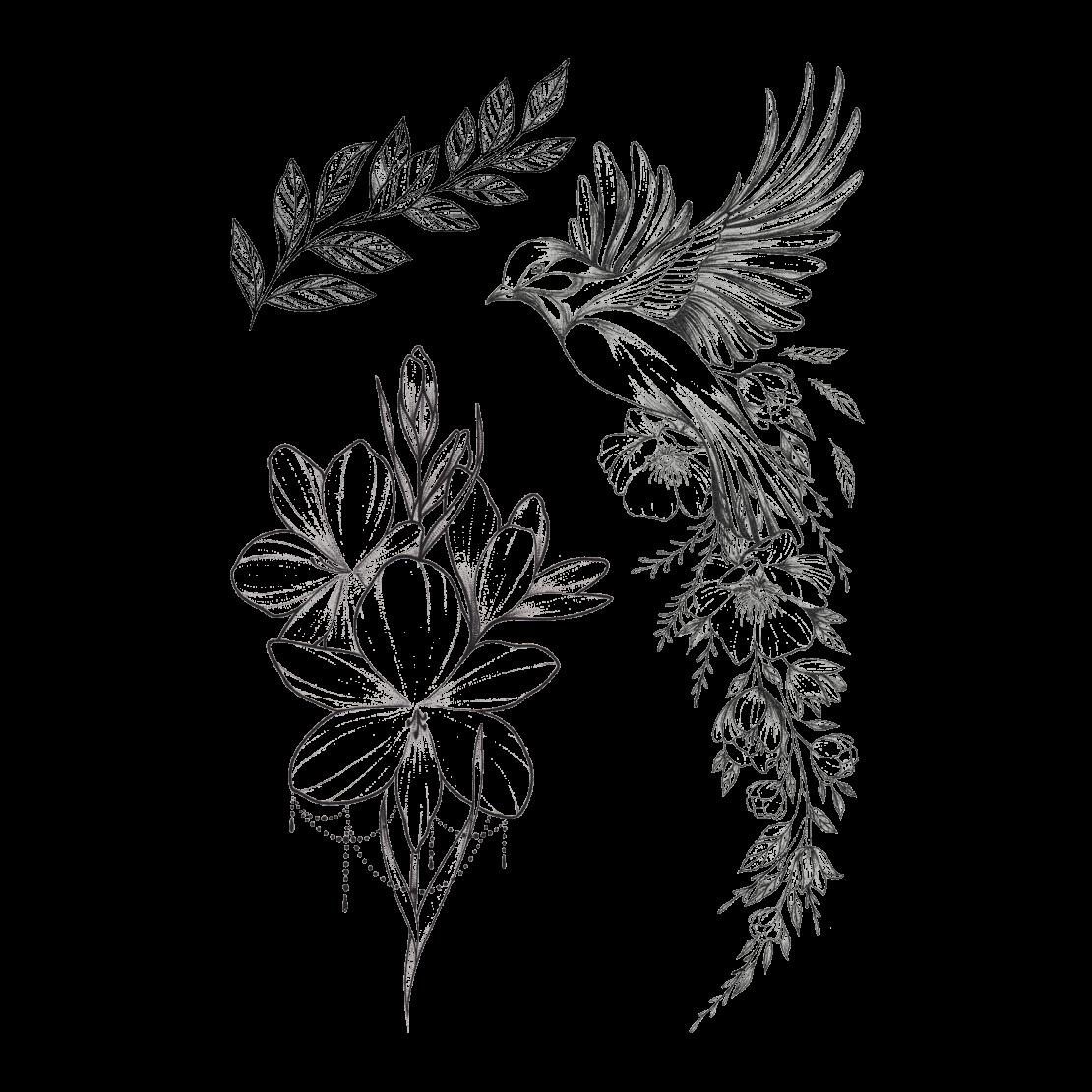 Временная тату набор Птичка и цветы
