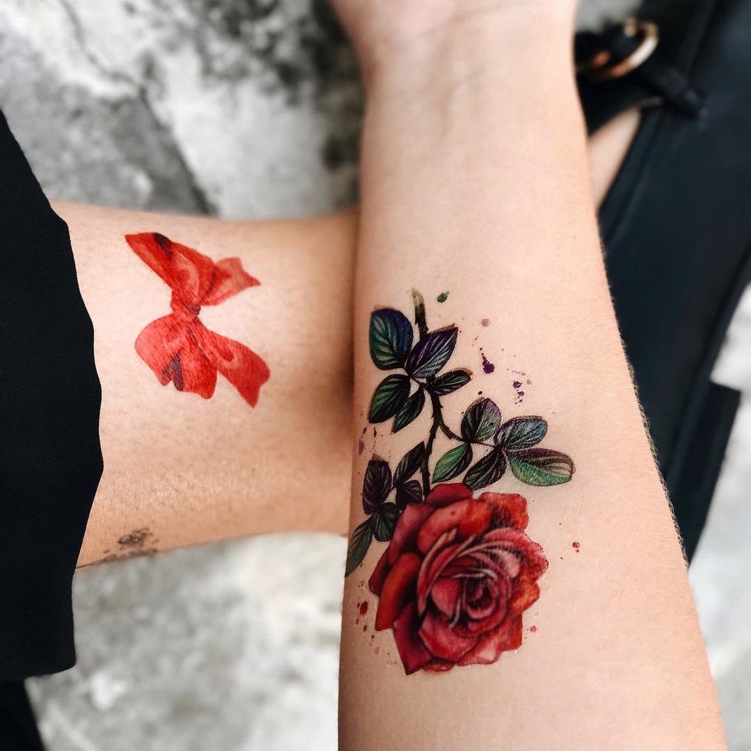 Временное тату роза и бантик