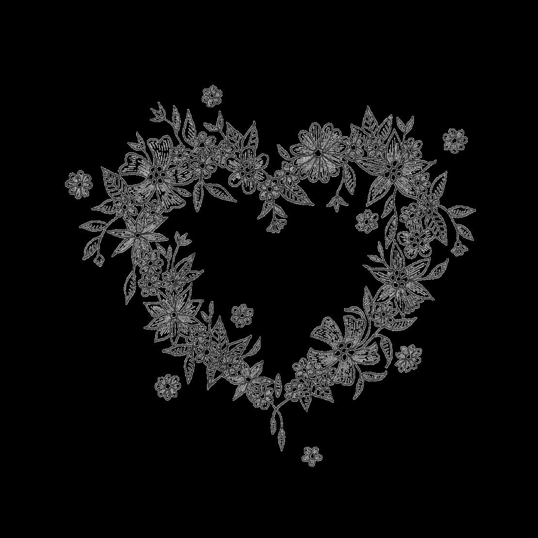 Временная тату Сердце из цветов