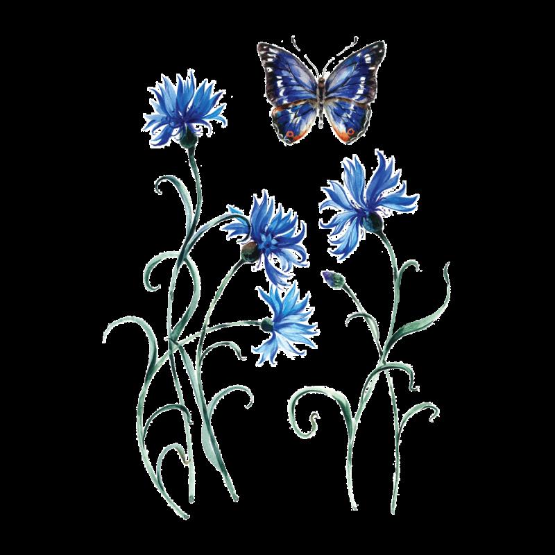 Временная татуировка Нежные васильки