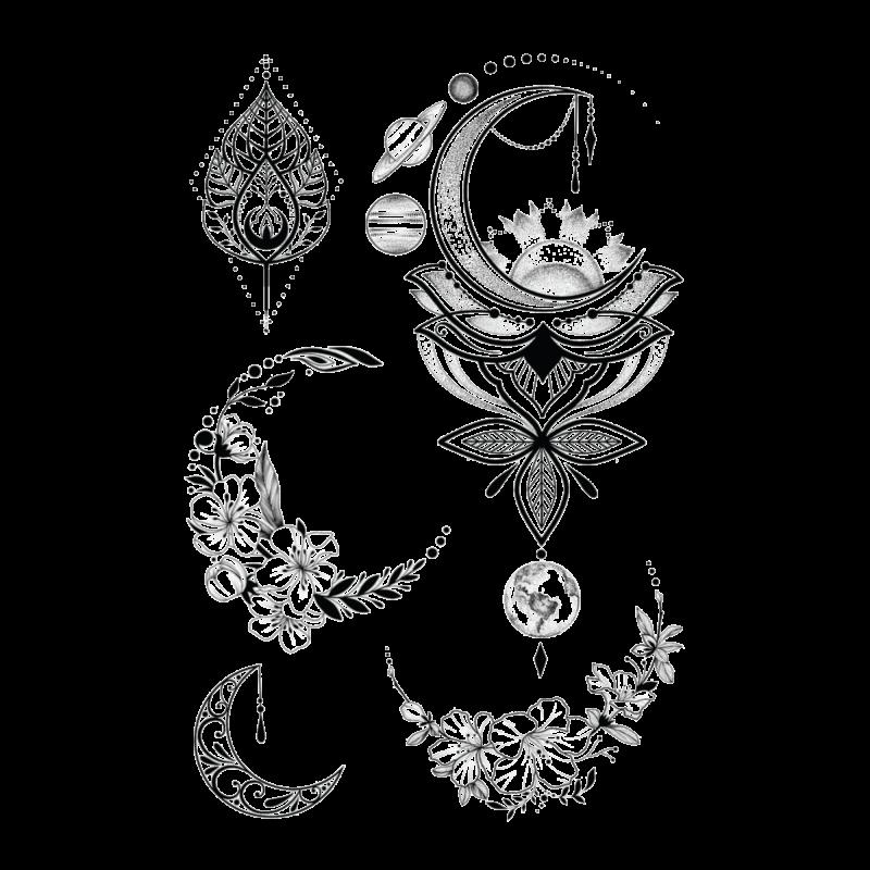 Временная тату Космос и цветы