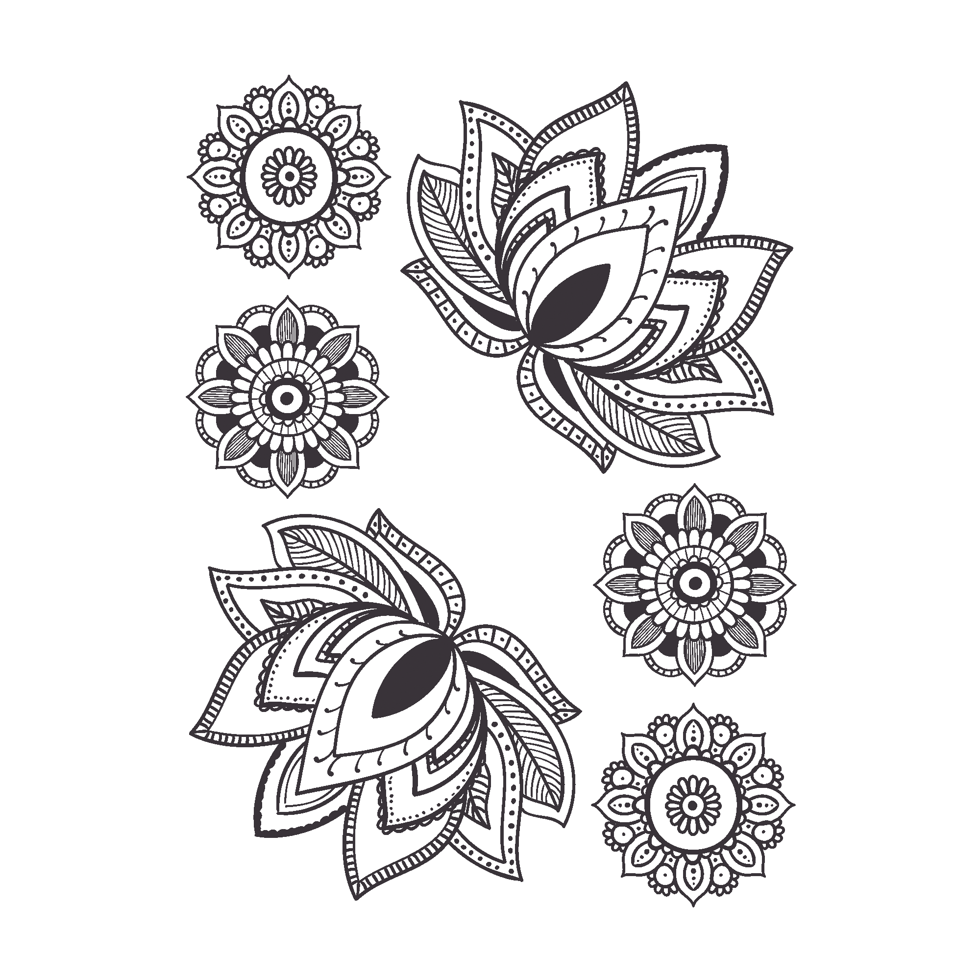 Temporary Tattoo Water Lilies And Mandalas Black And White