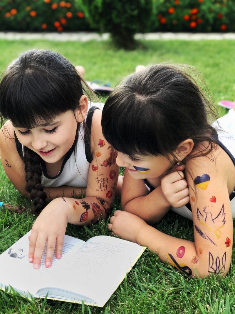 Временная тату Украина на детях