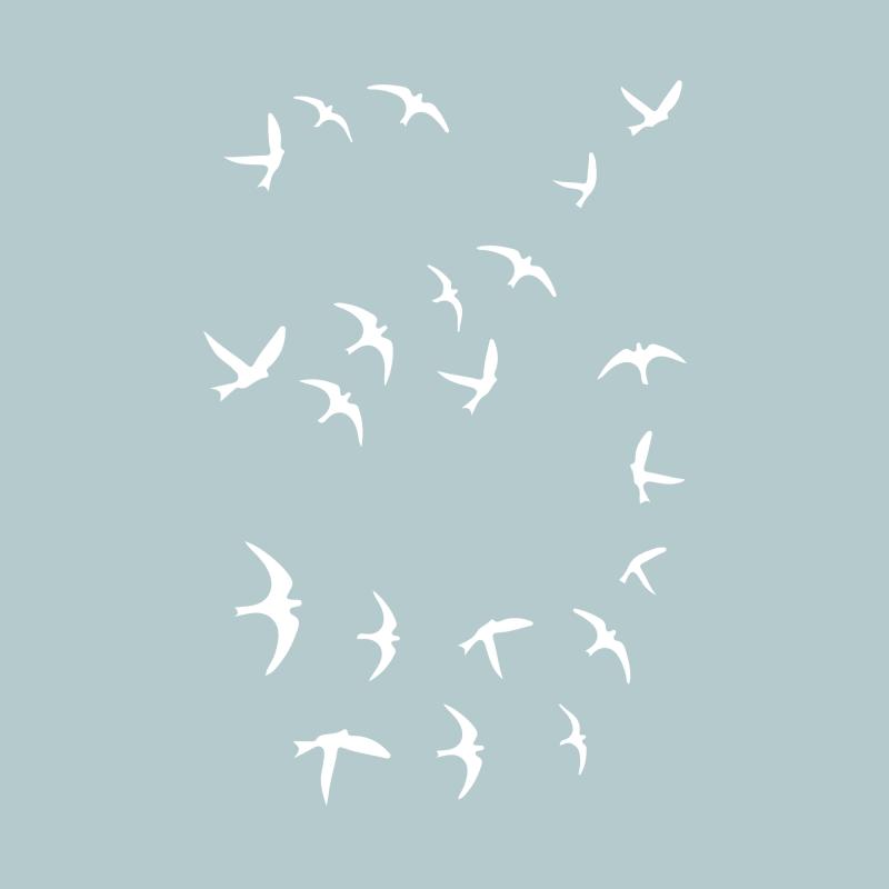 Белые временные тату с птицами