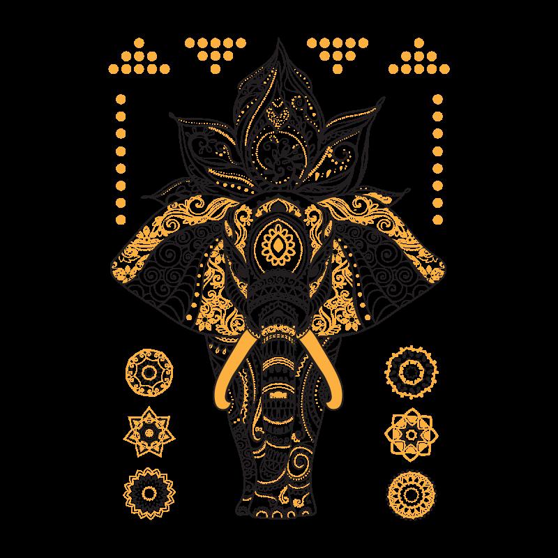 Временное тату слон и мандала золотые