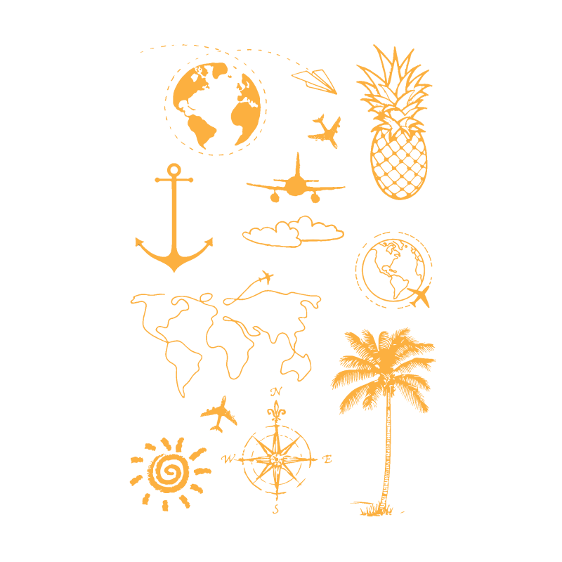Временное тату Набор путешевствинника в золоте