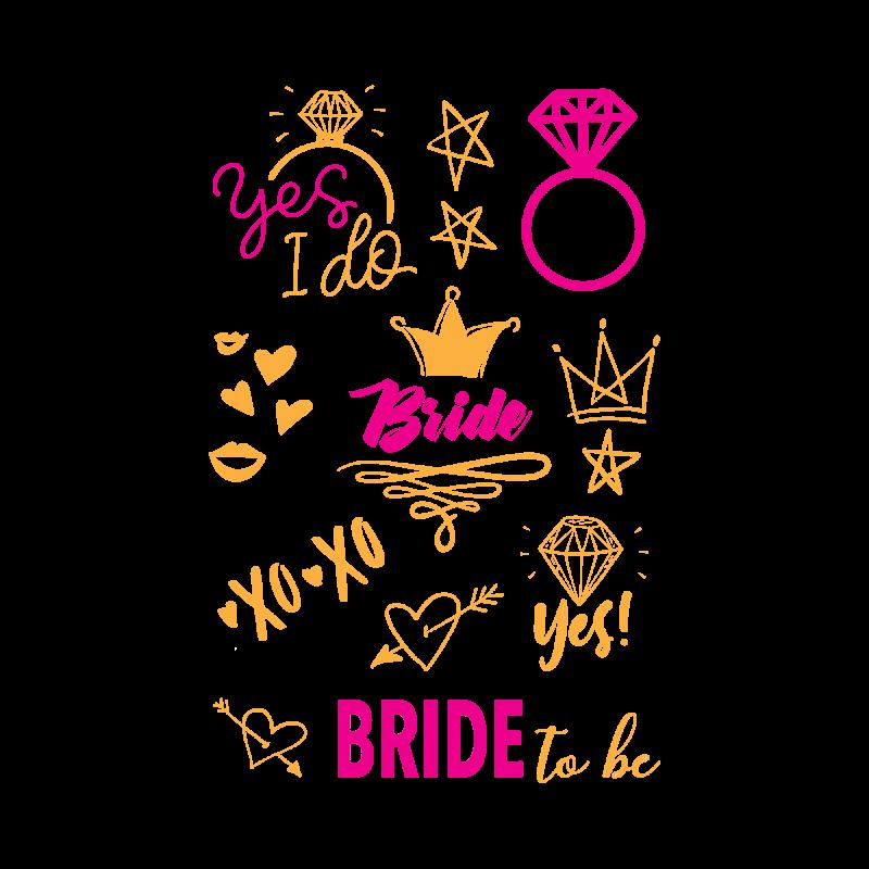 Золотые временные тату для невесты