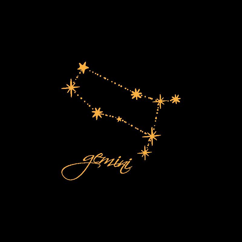 Золотое временное тату со знаком зодиака Близнецы