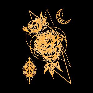 Золотая временная тату космические цветы в золоте