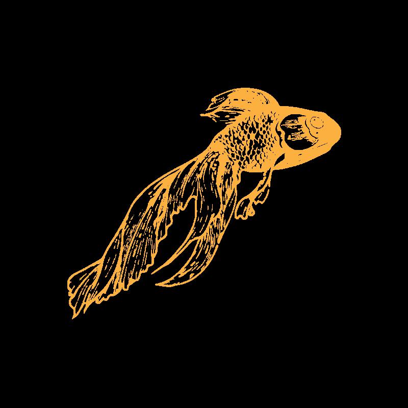 Временная тату золотая рыбка